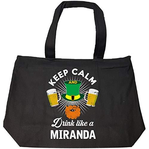 St Patricks Day Keep Calm Drink Like A Miranda Irish - Tote Bag With Zip