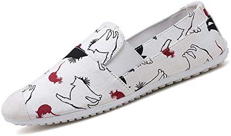 男性のための足首の靴スリップオンキャンバス弾性バンドステッチ通気性内側アンチスリップレジャー潮プリントパターンキャップつま先ドライビングローファー 快適な男性のために設計