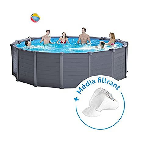Pack piscina tubular redonda Intex grafito 4.78 X 1.24 m + bolsa ...