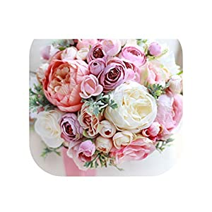 Jeeke 12Pcs Romantic Rose Bouquet Wedding Hand Bouquet Bridal Bridesmaid Lace Dried Flower Bouquet with Bear Doll
