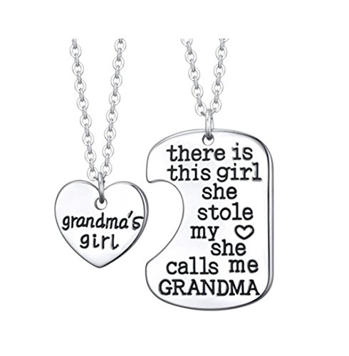 Fheaven 2PC Family Necklace Charm Gifts Heart Love Hot Necklace pendant for Daughter Dad Mother (A)