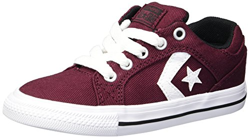 Converse Boys' EL Distrito Twill Low Top Sneaker, Deep Bordeaux/White/Black, 2 M US Little Kid