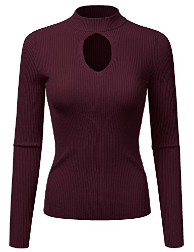 Doublju Fitted Deep V-Neck And Round Neck Ribbed Knit Sweater Top For Women BURGUNDY SMALL