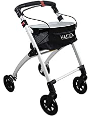 KMINA - Andador KMINA PRO Negro, Andadores Ancianos, Andador para adultos, Andador para mayores de aluminio, Andador para ancianos plegable con 4 ruedas