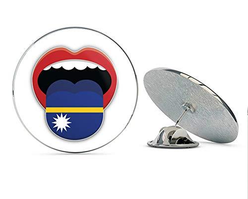 """Nauru Flag Mouth Round Metal 0.75"""" Lapel Pin Hat Shirt Pin Tie Tack Pinback"""