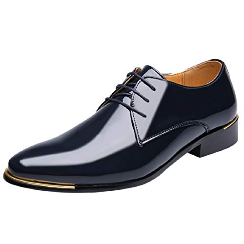 Men's Casual Patent Leather Lace up Wingtip Pointed Toe Metal Dress Shoes Bright Fashion Shoes by Lowprofile Blue