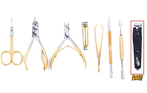 Gold Plated Manicure Set (Professional Manicure / Pedicure Kit (7 Pieces) Medusa M77, Polished Steel, Gold Plated (Full Set))