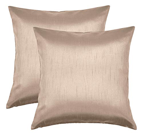 Aiking Home 26x26 Inches Faux Silk Square European Shams, Zipper Closure, Sand (Set of 2)