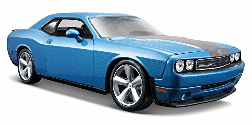 2008 Dodge Challenger SRT8 Hard Top w/ Sunroof, Blue - Maisto 31280BU - 1/24 Scale Diecast Model Toy Car