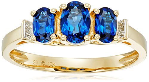 Accent Ring Sapphire (10k Yellow Gold September Birthstone 3-Stone Created Blue Sapphire with Diamond-Accent Ring, Size 7)