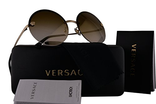 Versace VE2176 Sunglasses Pale Gold w/Brown Mirror Gradient Lens 12526U VE - Versace Www