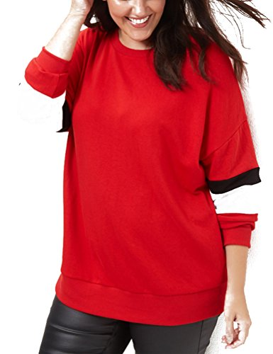 Choco Mocha Women's Long Sleeve Plus Size Casual Loose Red T-Shirts 18W