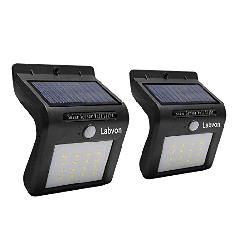 Labvon Solar Lights Wireless Solar Powered Motion Sensor Wall Lights Bright 21 LED Solar Light IP65 Waterproof Night Light Security for Driveway Pathway Patio Garden (Black)