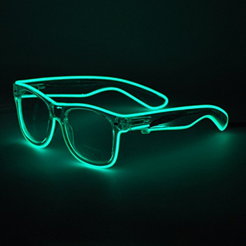 Generic EL Wire Rave Sunglasses LED Light Up Party - With Sunglasses Lights
