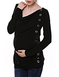 Arshiner Maternity Breasted Long Sleeve Cowl Neck Solid Long Blouse