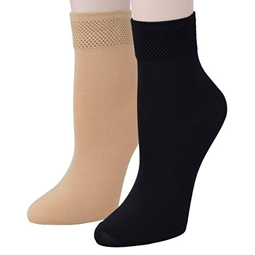 Fitu Women's 10 Pairs Modal Opaque Ankle High Tights Hosiery Socks (Beige+Black) 9-11 Beige+black