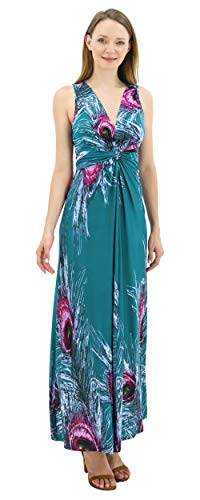 Front Dress Knot Maxi - BENANCY Women's Sleeveless V-Neck Maxi Dress Print Knot Front Long Dresses with Belt 1y-S Green