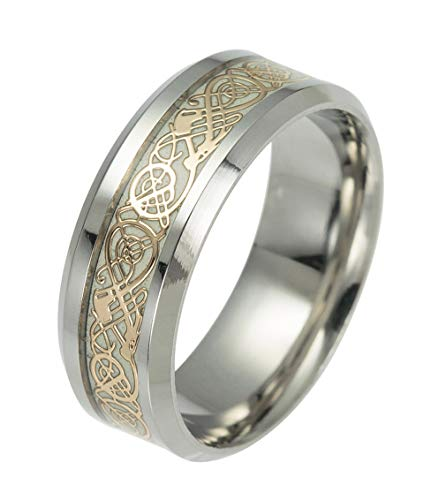 Tanyoyo Celtic Dragon Rings for Men Women Stainless Steel Luminous Glow Wedding Band Silver Golden Jewelry