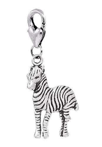 Zebra Zoo African Safari Wild Animal Park Clip On Dangle Charm for Bracelets Jewelry Making Supply by Wholesale Charms