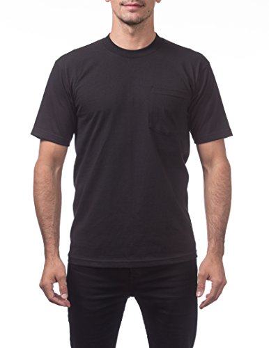 100% Cotton Tee Heavyweight (Pro Club Men's Heavyweight Cotton Short Sleeve Pocket T-Shirt, X-Large, Black)