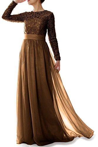 Chiffon Frauen Kleid Linie Braun Mutter der rmeln Spitze Abendkleider mit eine HWAN Braut langen O0wpxqdEOP