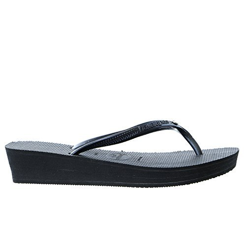 Havaianas High Light Glamour Swarovski Crystal Wedge Flip Flop Sandal - Black/dark (Swarovski Crystal Flip Flop)