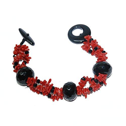 Créations or bracelet jonc en acier rhodié noir avec corail, onyx et perles facettes, finition à la main 16menbr0772