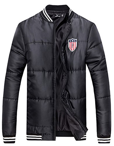 Men xxxl Zipper Coat Collar Stand Leisure Stitching EKU Jacket black Stripe 1qxvdva