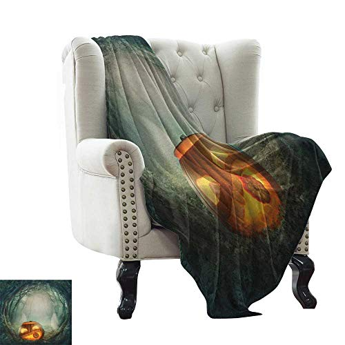 LsWOW Travel Blanket Halloween,Drawing of Scary Halloween Pumpkin Enchanted Forest Mystic Twilight Party Art, Orange Teal Indoor/Outdoor, Comfortable for All Seasons -