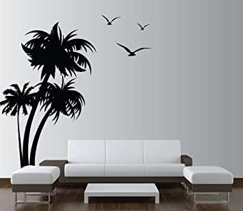 Innovative Stencils 1132 84 Mblack Palm Coconut Tree Nursery Wall Decal  With Seagull Birds, White Part 70