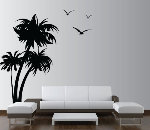 Innovative Stencils 1132 84 Mblack Palm Coconut Tree Nursery Wall Decal With Seagull Birds White