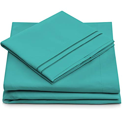 Cosy House Collection Twin Size Bed Sheets  Turquoise Bedding Set  Deep Pocket  Extra Soft Luxury Hotel Sheets  Hypoallergenic  Cool amp Breathable  Wrinkle Stain Fade Resistant  3 Piece