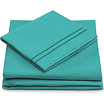 Split King Bed Sheets - Turquoise Luxury Sheet Set - Deep Pocket - Super Soft Hotel Bedding - Cool & Wrinkle Free - 2 Fitted, 1 Flat, 2 Pillow Cases - Teal SplitKing Sheets - 5 Piece