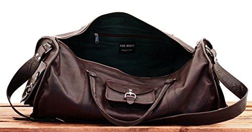 LE VOYAGEUR (XL) vintage leather travel bag shoulder strap bowling bag dark  brown PAUL MARIUS  Amazon.co.uk  Luggage 89208a44c3f