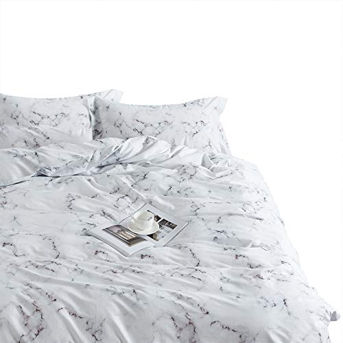 Wake In Cloud - Marble Comforter Set, 100% Cotton Fabric with Soft Microfiber Fill Bedding, Black White and Gray Grey Modern Pattern Printed (3pcs, Queen ()
