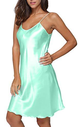 (Giova Women's Satin Long Lingerie Chemise Strap Dress Sleepwear Mint)