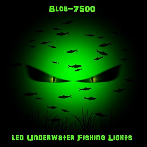 Green LED Underwater Night Fishing Light, Green Blob-7500 Compact, Waterproof, Fully Submersible, Self Weighted, for Crappie, Bass, Striper, Catfish, Baitfish, Walleye, Shad, Minnows, Docks, Boat