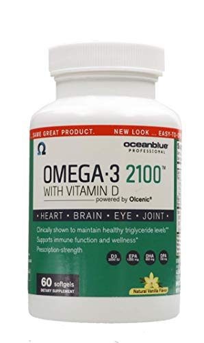 Ocean Blue - Omega 3 2100 - Olcenic Blend with Vitamin D - 60 Count - Natural Vanilla Flavor - Promotes Heart Health - No Fishy Aftertaste - Health Heart and Circulatory System - Support Teeth