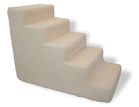 Pet stairs for tall bed Foam Pet steps White 5 Step Dog Cat Animal Ramp (3 Step Padded Dog Stairs)