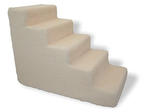 Pet stairs for tall bed Foam Pet steps White 5 Step Dog Cat Animal Ramp Ultra Lite Pet Stairs