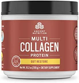 Ancient Nutrition Multi Collagen Protein Powder, Gut Restore, Lemon Ginger Flavor, 20 Servings