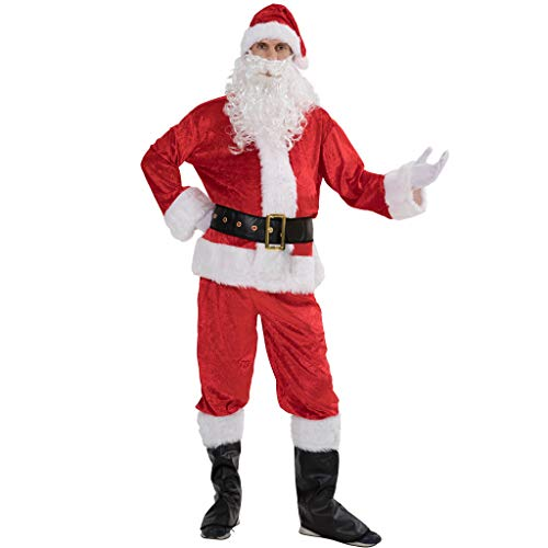 EraSpooky Men Christmas Santa Costume Adult Flannel Classic Suit 7pcs]()