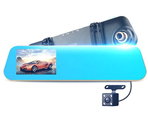 Dash Cam Backup Camera, Mirror Dash Cam Rear view Dual Lens 4.3 Inch Touch Screen,1080P Full HD 140° Wide Angle Front Car Camera Video Recorder and with Parking Monitor G-Sensor Loop Recording