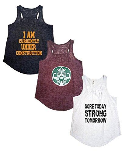 Tough Cookie's Women's Active Wear Burnout Tank Top 3 Pack Deal #4 (Medium - Flowy,