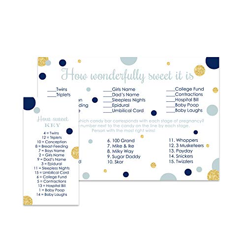 Baby Shower Candy Bar Game (Navy and Gold Baby Shower Candy Bar Game (Set of)