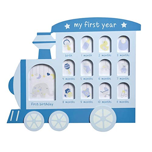 - Transomnia Baby's My First Year Blue Train Engine Multi Picture Photo Frame for Nursery
