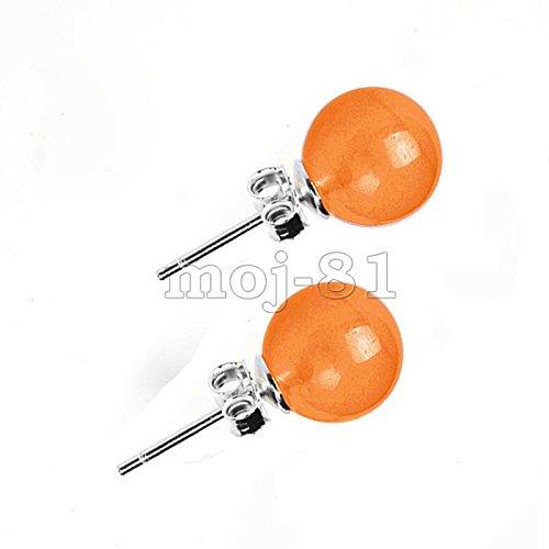 #7_Orange Genuine 10mm Natural Mix Color Jadeite Jade 925 Solid Silver Stud Earrings AAA - Jadeite Earrings