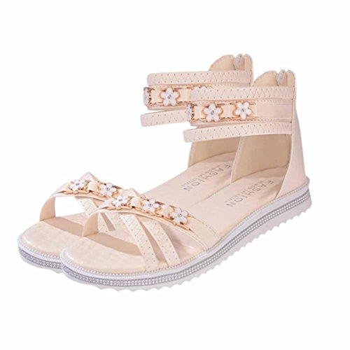 ® d'été faible toe sandales Mode en fleur femmes cuir Peep Transer Beige F0gdq8F