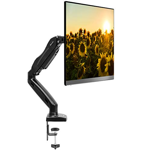 Mountio Full Motion LCD Monitor Arm - Gas Spring Desk Mount Stand for Screens up to 27