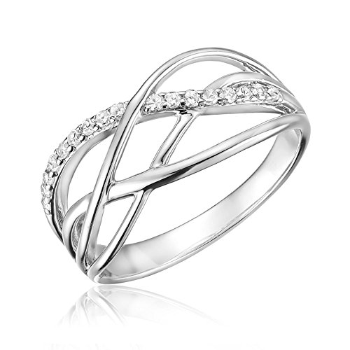 10K Gold Diamond swirl Ring (0.13TDW, H-I Color, I1 Clarity) Size 6 (white-gold) by Jewels by Erika
